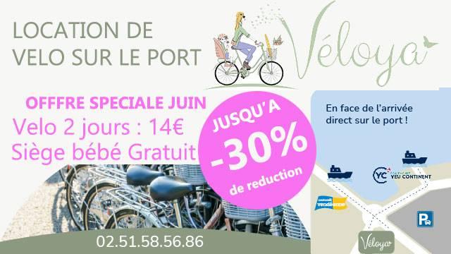 Louez votre vélo pour découvrir l'île d'Yeu avec VELOYA situé à deux pas des embarcadères de Port-Joinville, et profitez d'une promotion de -30 % sur la location en juin.