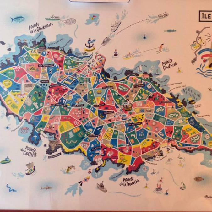 Affiche carte de l'île d'Yeu 50 x 70 cm (20 €)